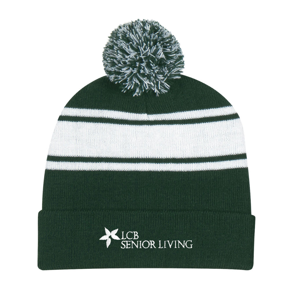 TWO TONE KNIT POM BEANIE WITH CUFF