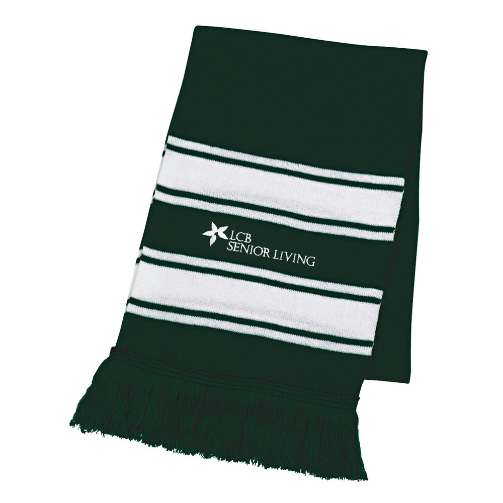 TWO TONE KNIT SCARF WITH FRINGE
